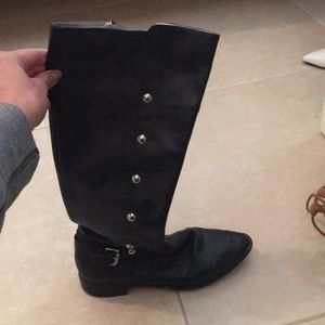 Micheal kors black leather riding boots
